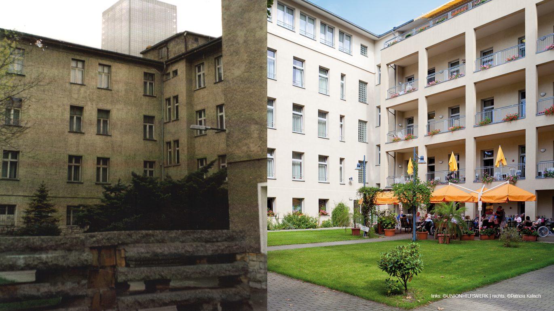 Das Pflegewohnheim Alt-Treptow vor der Sanierung und ganz aktuell.