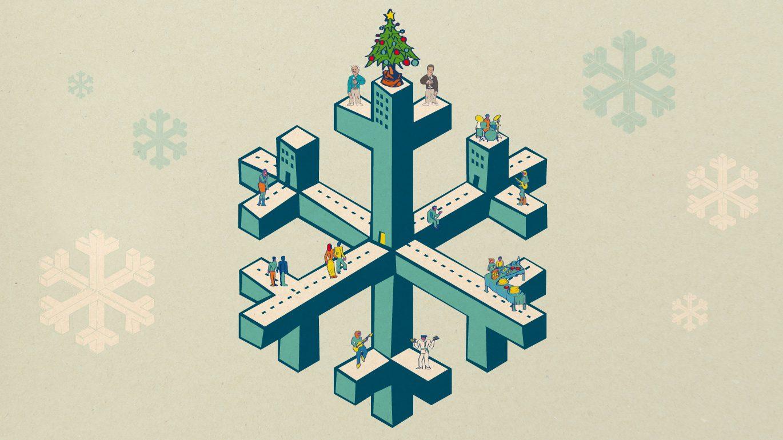 Illustration mit einer Schneeflocke, vielen Menschen und einem Weihnachtsbaum.