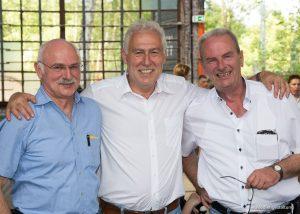 Heinz-Hermann Pannig mit Geschäftsführer Wolfgang Grasnick und Geschäftsbereichsleiter Holger Böhme bei der Feier zum 20-jährigen Jubiläum der USE.